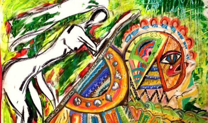 Ilustrace k Lucy in the Sky with Diamonds - na obrázku je ženská postava na zeleném pozadí, ohnutá k spoustě barevným tvarů, které jsou provedeny velmi detailně.