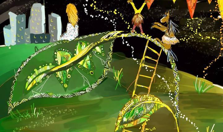 Digitální malba zrzavé holky v bílých šatech sedící na velikém zeleném listu, kouká na město v noci do dálky, zatímco na stonku listu tančí kůň a cirkusový skřítek. Na stonek vede žebřík a nad listem jsou žlutočervené praporky.