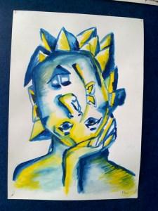 Kubistická akrylová malba modrožluté hlavy.