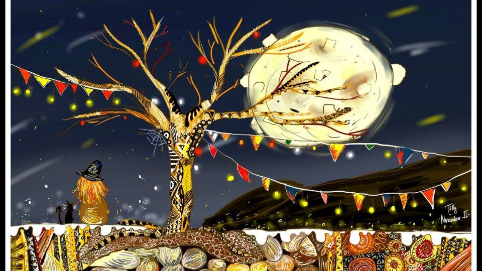 Digitální kresba zrzavé holky, která k nám sedí zády, pod stromem bez listí, za kterým visí barevné červenožluté praporky. Je noc a na obloze svítí obrovský měsíc a hvězdy.