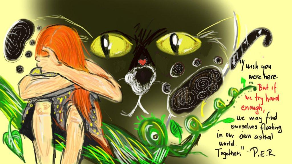 Digitální kresba zrzavé holky, která má skrytou hlavu v dlaních, za ní se nachází obrovská černá kočka.