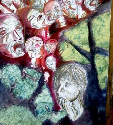 Lepená koláž, vepředu obličej kreslený tužkou, za ním řada křičících, nešťastných červených obličejů. Vše doplněno lepeným mačkaným papírem.