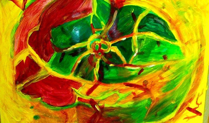 Abstraktní žlutozelenočervený obraz připomínající kytku malovaný vaječnou temperou.