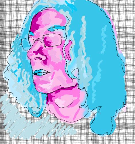 Růžovomodrý portrét J. G. Midgeyho, který se mnou napsal sérii esejů Ideální vztah.