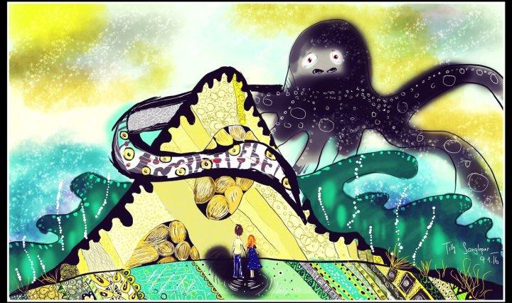 Digitální malba zrzavé dívky a vysokého muže, kteří stojí před horou, kterou z druhé strany objímá velká černá chobotnice.