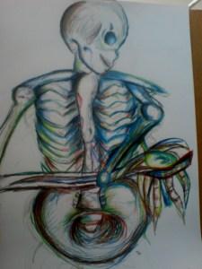 Malba kostlivce z profiklu, který natahuje ruku.