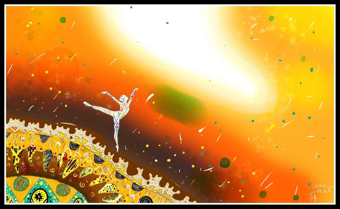 Digitální malba veselé postavy - bílé figury, která tančí na obrovském kameni se spoustou barevných detailů, v pozadí oranžové nebe a spoustu barevných teček.
