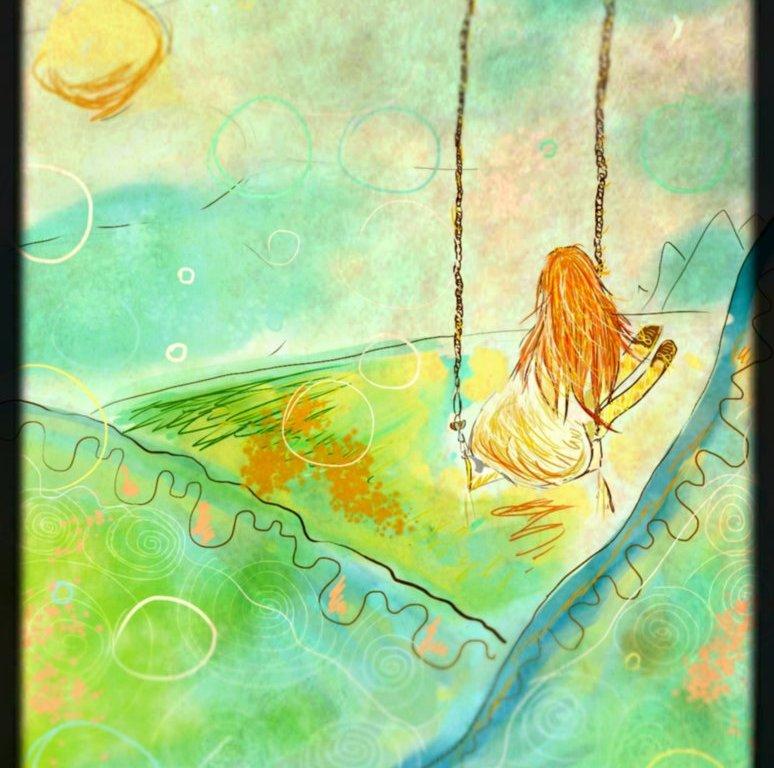 Digitální malba zrzavé holky, která sedí na jednoduché houpačce v bílých šatech, pod ní můžeme vidět hory.