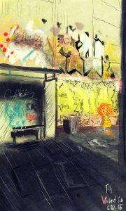 Digitální malba Zrzavé holky, která stojí u zastávky a u stěny, na které je nasprejováno grafitti.