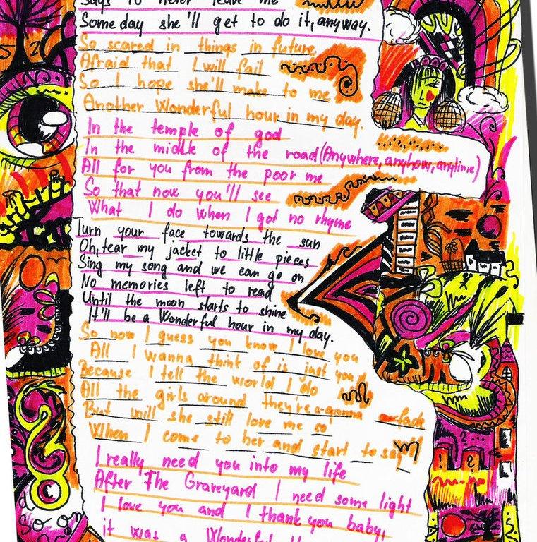 Ilustrovaný text písně Wonderful Hour in My Day od J. G. Midgeyho.
