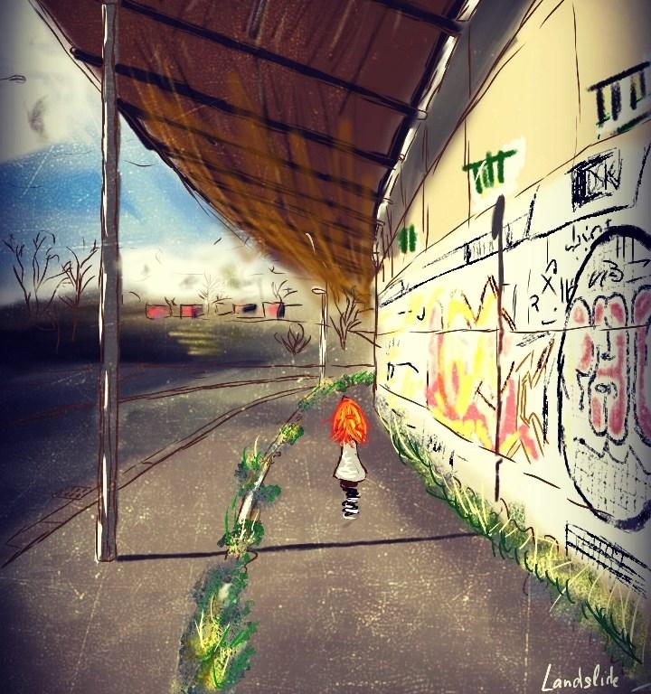 Digitální malba zrzavé holky, která stojí zády k nám uprostřed chodníku, vedle ní stojí veliká stěna s grafitti.