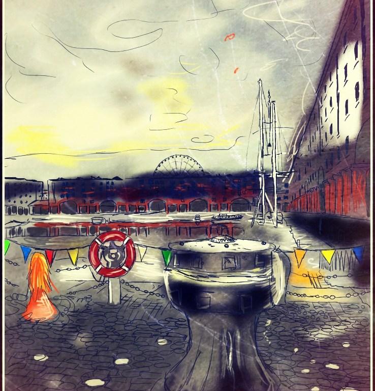 Na obrázku je figura zrzavé holky v Albert Dock v Liverpoolu, je všude šedo a sníh.