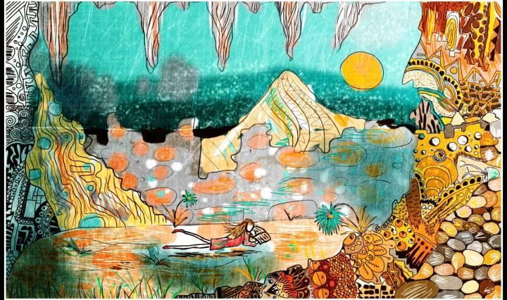 Digitální obrázek před bouřkou v údolí, kde dívka leží a čte si knihu.