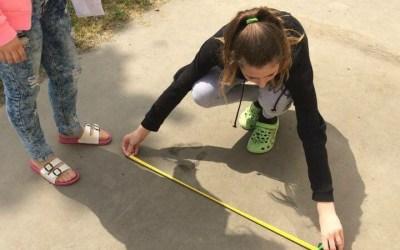 Žáci 9.C měřili výšky stromů na školním pozemku.