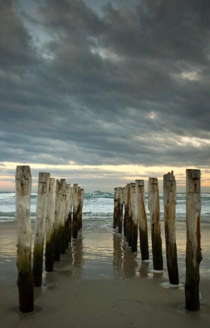 Old pier pilings, St. Clair Beach, Dunedin