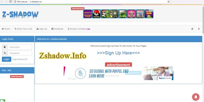 Z Shadow Signup Page