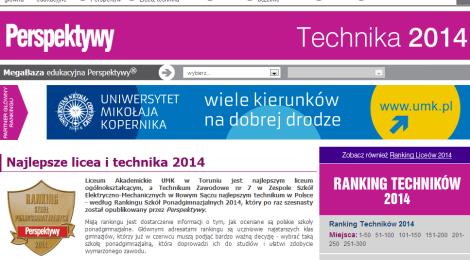 """2, 7, 14 - oto szczęśliwe liczby w Rankingu Techników '2014  """"Perspektyw"""" i """"Rzeczpospolitej"""""""