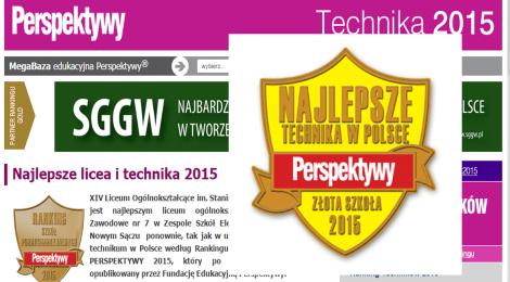 """Technikum ze Sportowej 8 wśród """"Złotych Szkół 2015"""""""