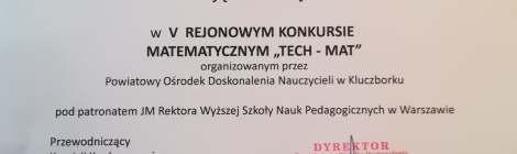 Bartosz Gableta - zwycięzca Rejonowego Konkursu Matematycznego - TechMat