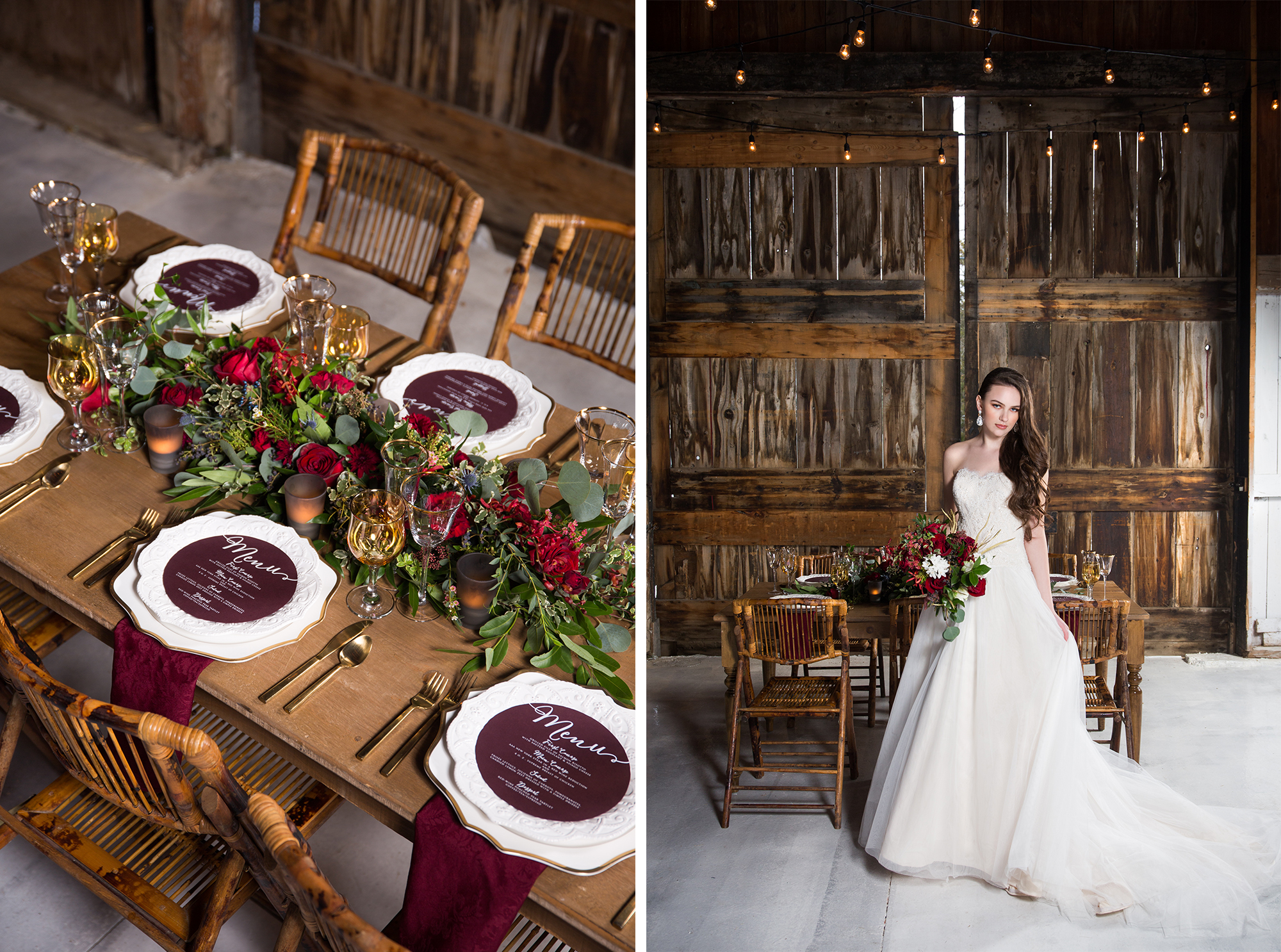Rustic Burgundy and Gold Barn Wedding Inspiration
