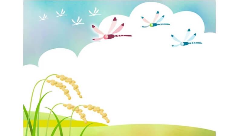 トンボが飛ぶ田舎の風景