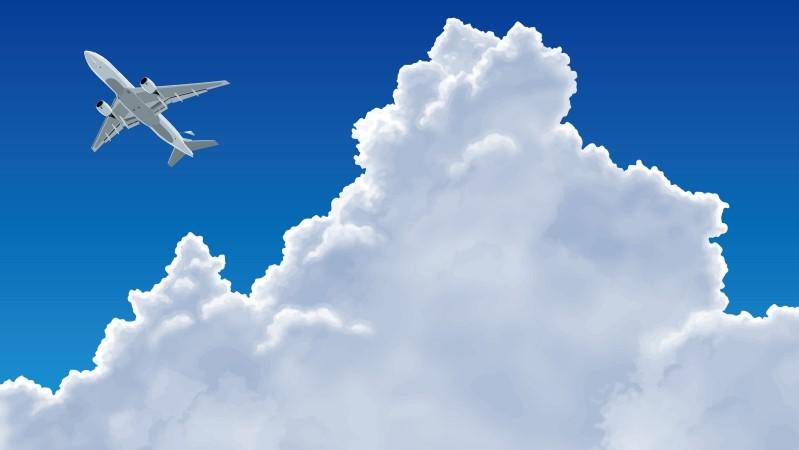 国外出張に行く飛行機