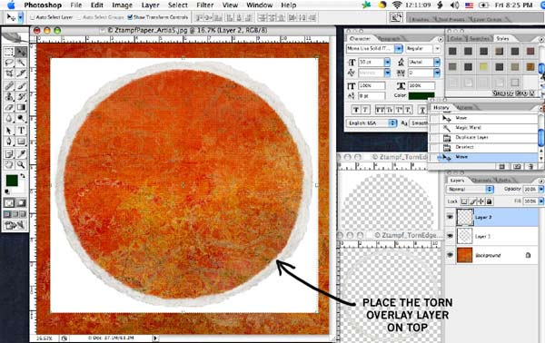 Placing the Cropping Template Onto the Paper
