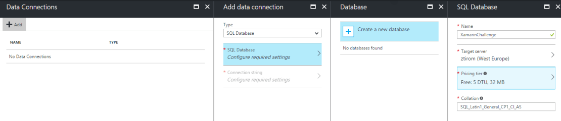 Xamarin Challenge 3 Setup Database Create