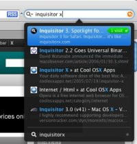 Popup do Inquisitor com resultados da busca.