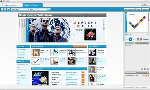 Tela da Nokia Store. Detalhe para o destaque do Comes With Music.