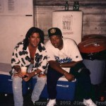 Taking a break with Dr Dre during the Funky Flute video shoot - 1991