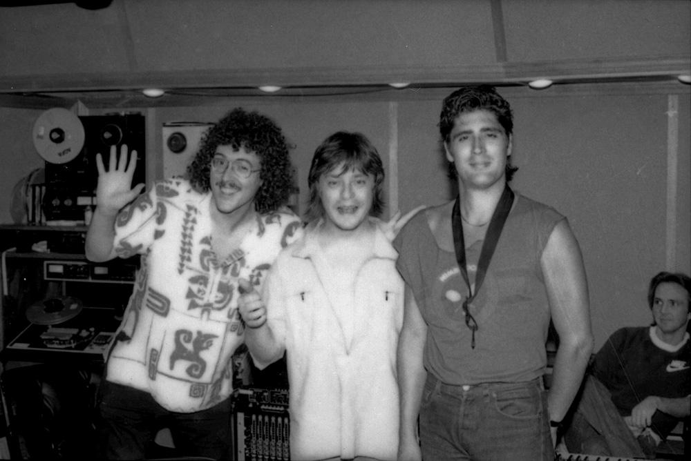 Weird Al, Rick Derringer and Jimmy Z enjoying the sweet bird of youth in Scotti Bros. in-house studio, Santa Monica Sound Recorders, studio A