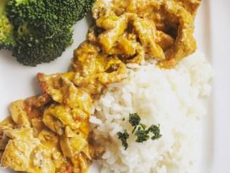 Geschnetzeltes mit Reis und Broccoli