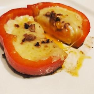 Paprika Ei mit Käse und Schokolade