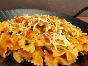 Zubereitung One Pot Pasta mit Pilzen und Paprika