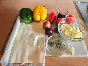 Vegetarische Balsamico Blätterteig Pizza Zutaten