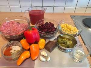 Chili Con Carne mit Schokolade Zutaten