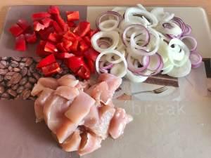 Zwiebel Rahm Hähnchen Geschnetzeltes Vorbereitung