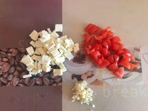 Tomaten Feta Frischkäse Dip Vorbereitung