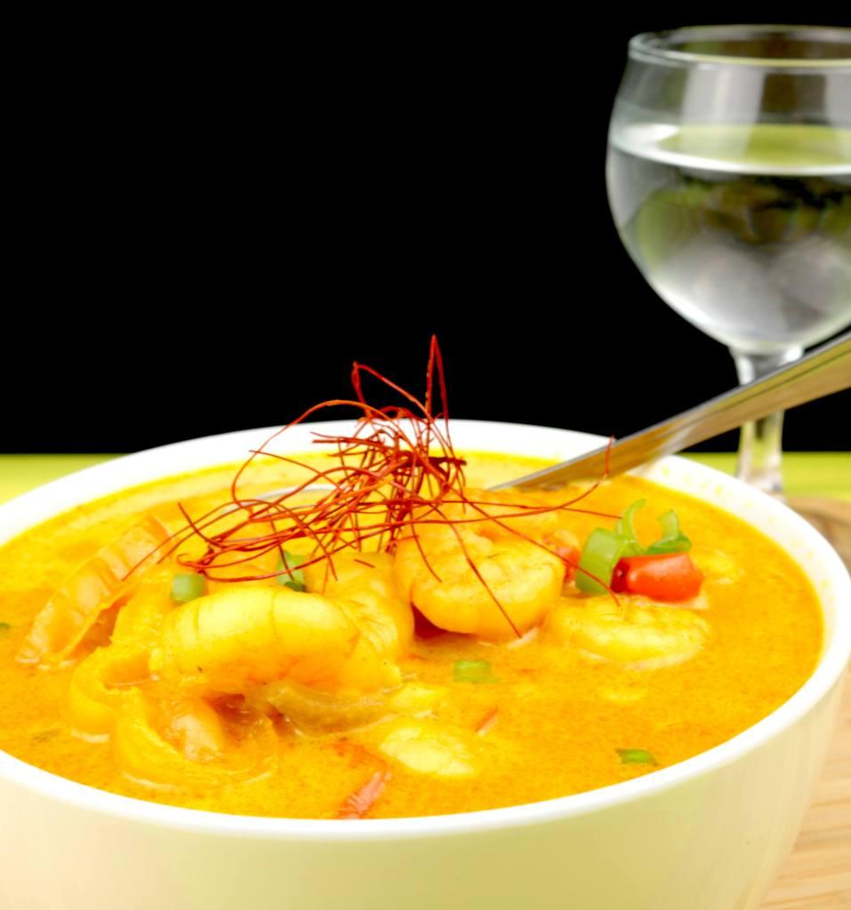 Serviervorschlag Thai Curry Garnelen Suppe