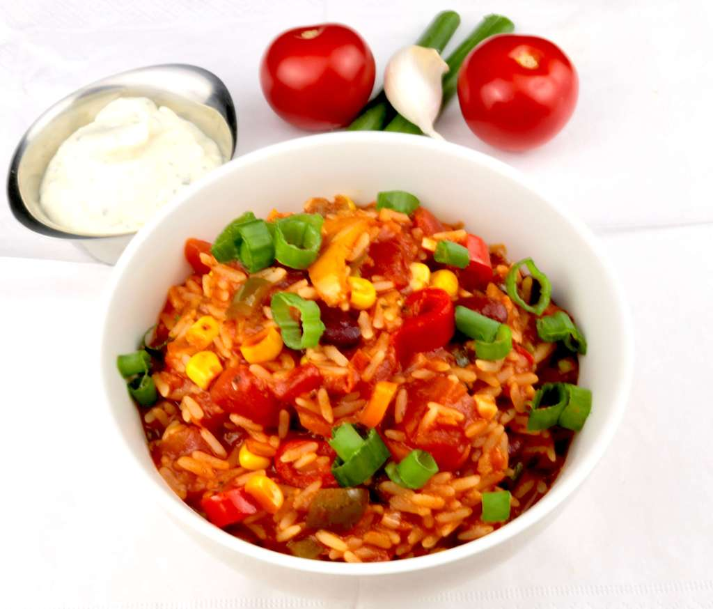 Serviervorschlag Mexikanische Reispfanne