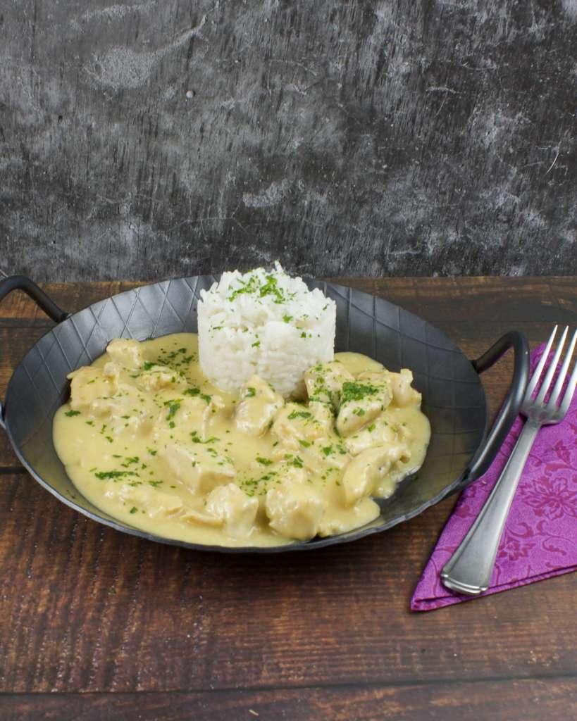 Serviervorschlag Knoblauch Parmesan Hähnchen Geschnetzeltes