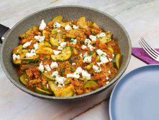 Vegetarische Zucchini Hackfleisch Pfanne