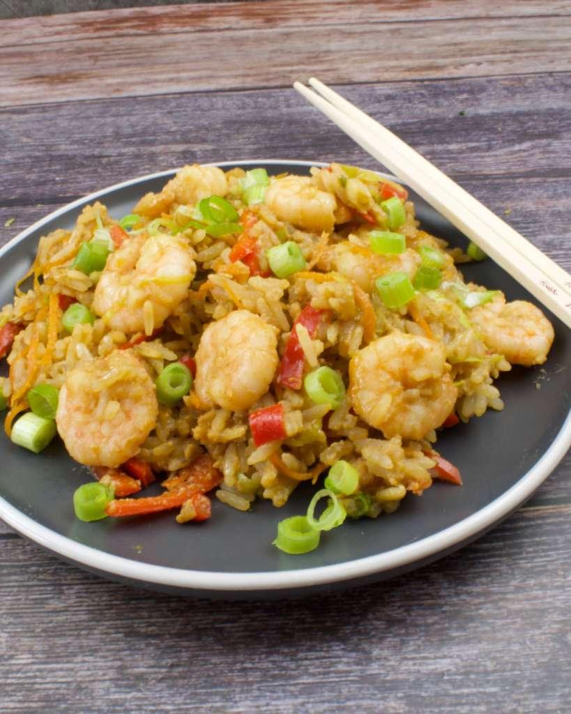 Serviervorschlag Gebratener Reis mit Garnelen