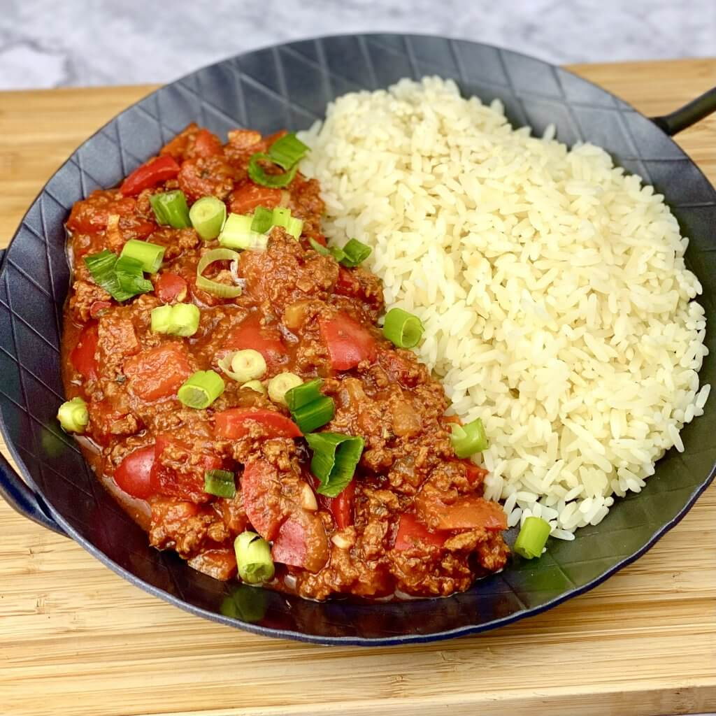 Zubereitung Vegetarische Paprika Pfanne mit veganem Hack
