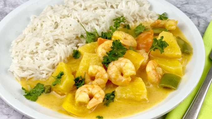 Fruchtiges Ananas Garnelen Curry