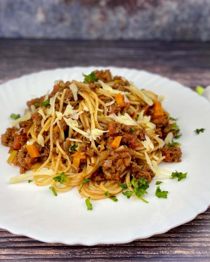 Serviervorschlag Vegetarische Spaghetti Bolognese