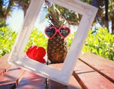 楽しそうな夏のパイナップルと額縁の写真画像