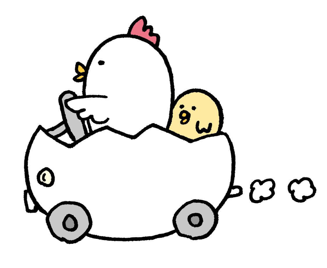 ヒヨコ・ニワトリ親子が車にのるイラスト