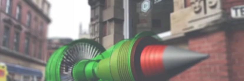 Zubr ARKit Hololens style augmented reality turbine hologram outside Zubr studio in Bristol UK